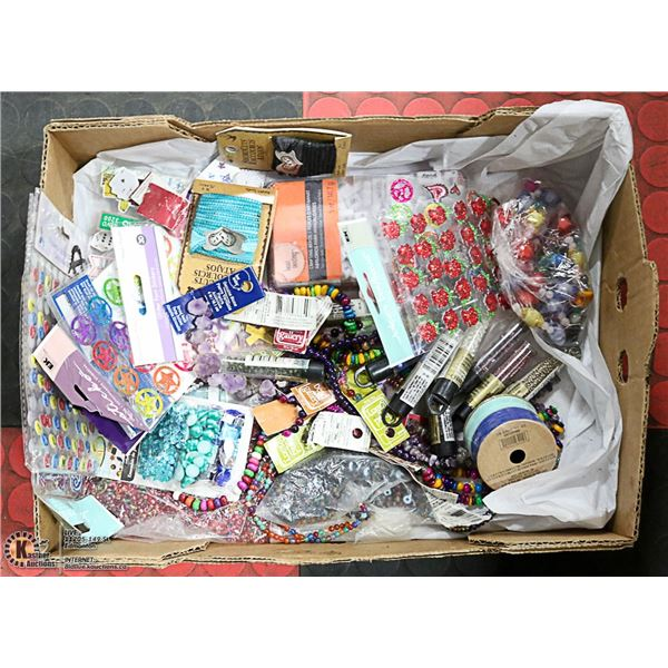 FLAT OF ARTS & CRAFTS, BEADS & STICKERS -