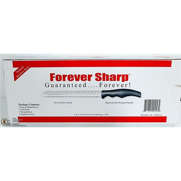 NEW FOREVER SHARP KNIFE SET- 3 LONG, 1 FILET,