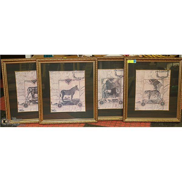 LOT WITH 4 GOLD TONE FRAMED ANIMAL PICTURES