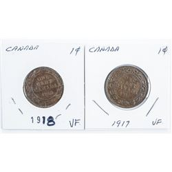 Lot (2) Canada 1917 -1918 Large Cents (40)