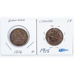 Lot (2) 1915 1916 Large Cents Fine (39)