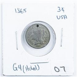 1865 USA 3 Cents with Hole