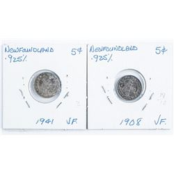 Lot (2) NFLD Silver 5 Cents 1941 & 1908 VF (32)