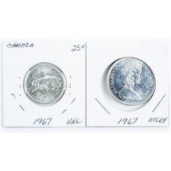 Lot (2) 1967 Quarters MS 64 & UNC (25)
