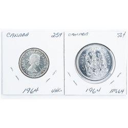 Lot (2) Canada Half Dollars MS64 & UNC (24)