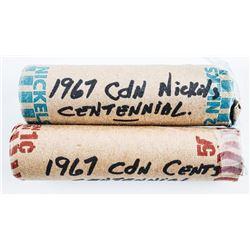 Lot (2) Rolls 1967 Centennial Coins - 1 cent & 5 c
