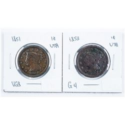 Lot (2) USA 1851 and 1853 USA Large Cents
