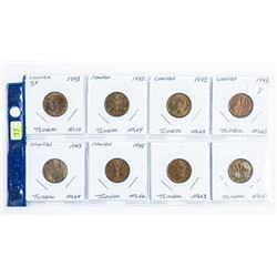 Lot (8) Canada Tombac Nickels (8)