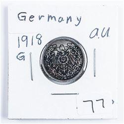 Germany 1918G 1/2 Mark (AU) .0802 ASW