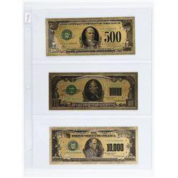 Group (3) 24kt Gold Leaf USA-Notes: 500,1000,10000