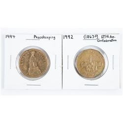 Lot (2) CAN 1.00 Coins - 125 Anniversary Peacekeep