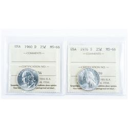 Lot (2) USA 1960D and 1976S 25 Cents MS66. ICCS.