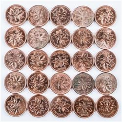 Lot (25) Canada 1963 BU One Cent Coins