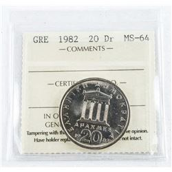 Greece 1982 20 DR. MS64. ICCS. (OE)