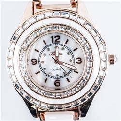 Ladies Qtz. Watch, Copper Case, Ceramic White Band
