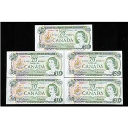 Bank of Canada 1969 20.00 Choice UNC (5) In Sequen