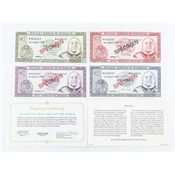 TONGA 1978 Specimen 4 Note Set. Match Serial Numbe