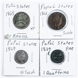 Group of (4) Coins of The Papal States - 1829R,186