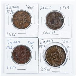Group of (4) Coins of Japan, 1876, 1877,1882, & Ye