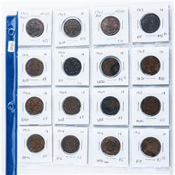 Group of (16) Canada Large Cent Coins, Mixed