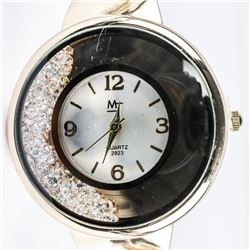 Ladies Custom Bangle Watch with Floating Swarovski