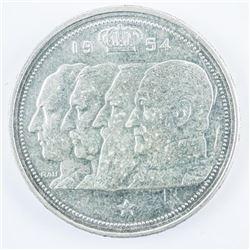 Belgium 1954 Silver 100 FR, .4832 ASW KM # 138.1