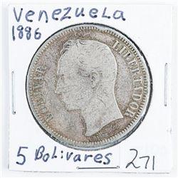 Venezuela 1886 5 Bolivares .7234 ASW