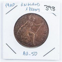 1910 England 1 Penny Coin AU-50 (EI)