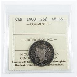 Canada 1900 25 Cents. AU55. ICCCS. (EXR)