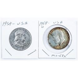 Lot (2) USA 50 Cents 1954 Liberty and 1964D Silver