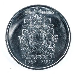 Roll of 20 CAD Fifty Cent Coins 2002