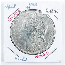 1921-P USA $1 Silver Morgan MS-60 (SSR)