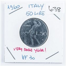 1960 Italy 50 Lire Coin VF-30 VERY RARE YEAR (ME)