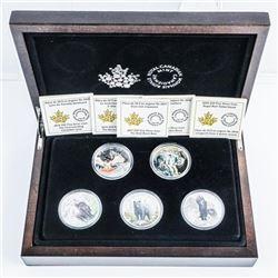RCM Canadian Lynx 5 Coin set, .999 Fine Silver 5x1