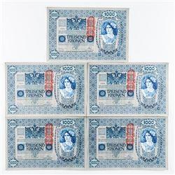 Group of (5) Austria 1919 1000 Kronen UNC in Seque