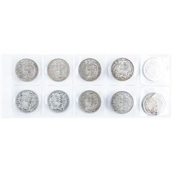 Group of (10) Canadian Silver 50 Cent Coins