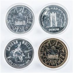 Group of (4) Canada Silver Dollars Capsules
