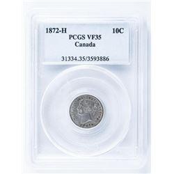 1872H Canada 10 Cent PCGS. VF35. NFLD