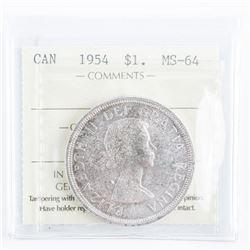 1954 CAD Silver Dollar MS64 ICCS