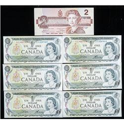 Lot (7) CAD Notes: 6 x $1.00 1973 & 1 x $2.00 1986