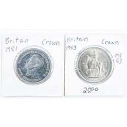 Lot of (2) Great Britain Crowns - 1951 and 1953