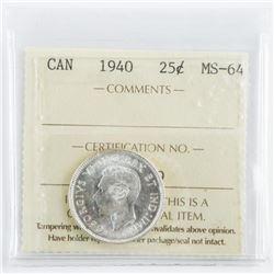 1940 Canada 25 Cent MS64. ICCS.