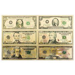 Lot of (6) 24kt Gold Leaf Set - USA Collector Note