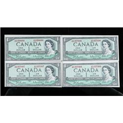 Group of (4) Bank of Canada 1954 1.00 in Sequence