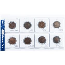Group of (8) Large One Cent Coins: 1910-1920  Era