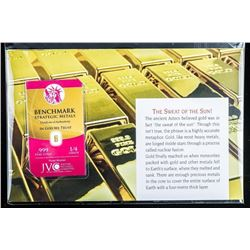 Collector Bullion Bar 'The Sweat of the Sun'  999 Fine pure Gold Bar Serialized with Art  Card