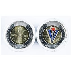 Lot (2) RCM Victory Special Issue 2.00 Coins  - 75 Years, 1 Roll x 25 Coloured, 1 Roll x  25, Plain,