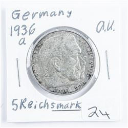 1936A Germany 5 Reichsmarks (AU) .4016 ASW