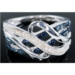 925 Sterling Silver Ring - 14 Blue Diamonds  and 29 SC Diamonds .25ct tw. TRRV: $1495.00