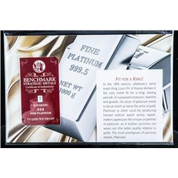 Fit For a King - .999 Fine Pure Platinum  Collector Bar with Giclee Art Card Serialized